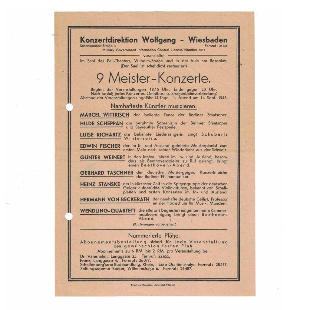 Erste Programmankündigung (1946)