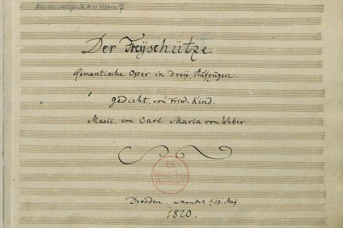 """Partitur zur Oper """"Der Freischütz"""" von Carl Maria von Weber (Staatsbibliothek zu Berlin - Preußischer Kulturbesitz,1820)"""